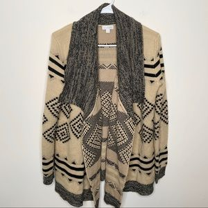 Charming Charlie Beige Black Tribal Thick Cardigan
